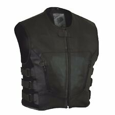 MEN'S MOTORCYCLE BIKER UPDATED TACTICAL SWAT STYLE LEATHER VEST NEW BLACK