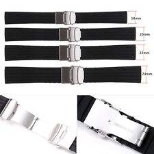 New Black Silicone Rubber Watch Strap Band Deployment Buckle Waterproof 18~24mm