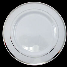 Dinner/Wedding/Party Disposable Plastic Plates white /silver rim