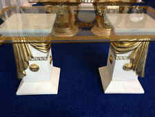 Versace logo and gold ribbon coffee table with medusa head on glass