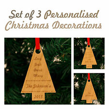 Personalised Christmas Darkwood Tree Decorations