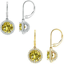 6mm Citrine Round CZ Lever Back Halo Dangling 14K White/Yellow Gold Earrings