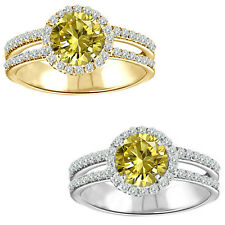 1.75 Carat Diamond Citrine Gem Stone Halo 14K White/Yellow Gold Anniversary Ring