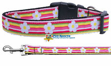 Striped Daisy Nylon Dog Collar, Adjustable D-Ring Matching Leash Pet Puppy