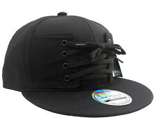 NEW *LACE* SNAPBACK CAP BLACK PLAIN BASEBALL HIP HOP ERA FITTED FLAT PEAK HAT