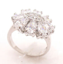 Women New White Gold Plated Simulated Diamond Wedding Big Sun Flower Ring size O