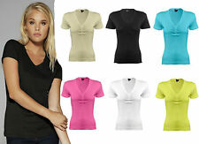 LADIES RUCHED T-SHIRT PLAIN SHORT SLEEVED V NECK CAUSAL TOP T-SHIRT SIZE 8-14