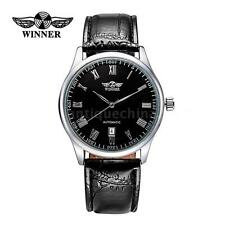 New Classic Mens Automatic Date Mechanical Analog Leather Steel Wrist Watch K3U9