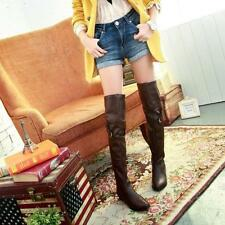 New womens low heels pu leather buckle pull on casual over the knee thigh boots
