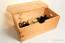 Large Wooden Box - Enclosed lid and handles