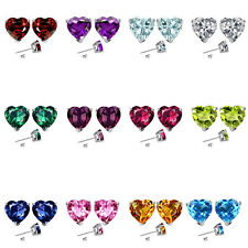 6mm Heart CZ Select Birth Gemstone Stud Earring Silver 14k Gold Plated-WG