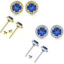 6mm Sapphire Birthstone Gem Stud Halo Solitaire Round Silver Earrings