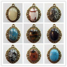 1Pcs/2Pcs Bronze Inlay Mixed Gemstone Oval Pendant Bead (sent randomly) S-32