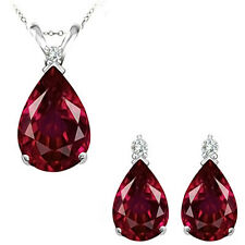 Ruby Pear Birth Gem Stone Set Pendant Earring 14K White Yellow Gold Diamond