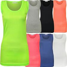 New Womens Plus Size Fluorescent Neon Colour Ribbed Fitted Vest Tops M/3X