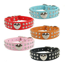Bling Rhinestones Crystal Heart Leather Collar Adjustable Pet Dog Cat Puppy Hot