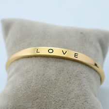 1pc Women Gold/Silver Plated LOVE Bracelet Jewelry Stainless Steel Cuff Bangle