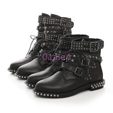 Womens Punk Rivet Buckle Strap Leather Motor Biker Military Ankle Calf Boot 4-10