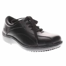 Spring Step MONACO Womens Black Leather Oil Slip Resistant Lace Up Work Shoes