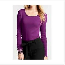 NWT Ann Taylor Long Sleeve Scoop Neck Back Zip  Top Tee  $34.00 Orchid Magenta