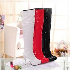New Womens High Heel Roman Patent Leather over the Knee High Boots Shoes Plus