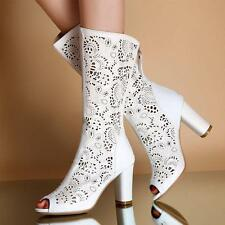 Ladies Open Toe Hollow Out Mid Calf Summer Roma Gladiator High Heel Boots Shoes