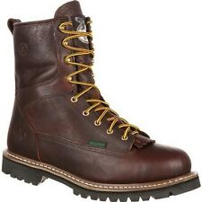 """Mens Georgia 8"""" Logger Soft Toe Waterproof Lace To Toe Work Boot Size 7-14 G101"""