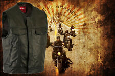 Mens 'Anarchy' Motorcycle Biker Waistcoat Full Real Leather Black Vest Jacket..