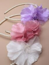 Pearl bead aliceband with large fabric flower. In Pink/lilac/ white, bridesmaids