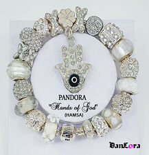 """Hand of God"" Hamsa White Authentic Pandora Sterling Silver Chain w/ Charm/Bead"