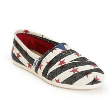 NEW WOMEN'S 5 5.5  TOMS NAVY NATURAL STARS & STRIPES CLASSIC SLIP ON SHOES