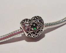 FILIGREE BIRTHSTONE HEARTS .925 Sterling Silver European Bead - HR5/HR6
