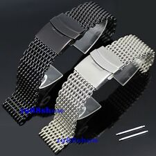 New Luxury 20 22 24 mm Shark Black Silver Bracelet Double Clasp Watch Mesh Band