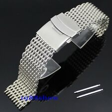 New Fashion Shiny 18 20 22 24 MM Shark Stainless Steel Diving Watch Mesh Band