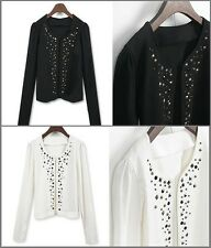 Long Sleeve Studded Rivets Decorative Open Cardigan Jacket S M L XL