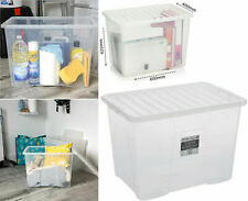 80 Litre Crystal Clear Plastic Storage Box/Secure Clip on Lid