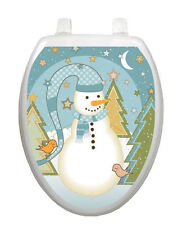 Folk Snowman Toilet Tattoo - Removable Reusable Bathroom Christmas Decoration