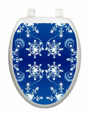 Snow Crystals Toilet Tattoo  Removable Reusable Bathroom Christmas Decoration
