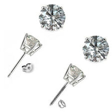 1 Carat G-H I1 Round Diamond Basket Men's Single Stud Earring 14K White Gold