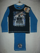 BNWT BOYS STAR WARS L/S TOP & LONG BOTTOMS NAVY/BLUE COTTON  PJ'S AGES 4 - 10YRS