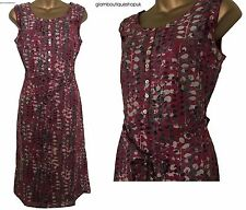 BN LADIES WHITE STUFF SPERO RASPBERRY GREY PRINT SUMMER TEA DRESS TUNIC SZ 8-18