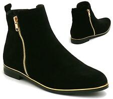 WOMENS LADIES CHELSEA FLAT LOW BLOCK HEEL ANKLE BOOTS BOOTIES SHOES SIZE 3-8