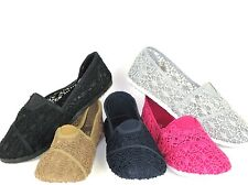 New Womens Simple lace Crochet Ballet Flats Comfy Slip On Ballerina Shoes