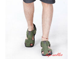 New Men's Summer Beach Shoes Closed Toe Sandals Fisherman Comfy Leather Flats