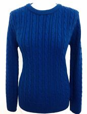 NEW LADIES CABLE KNITTED ROUND & V NECK LONG SLEEVE JUMPER SWEATER SIZES S-XL