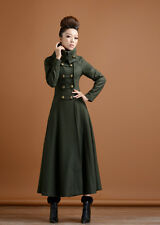 Womens double-breasted Stand Collar Long Coat Full length Military Outwear Dress