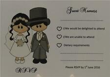 Personalised Ivory A6 Wedding RSVP Insert Bride Groom Dress And Top Hat Design