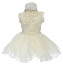 New Baby toddler Girl National Glitz Pageant Dress Formal size 5 6 Ivory