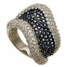 PAVE SAPPHIRE & CLEAR CUBIC ZIRCONIA BRIDAL ETERNITY RING-925/SS--ONLY 1 ON EBAY