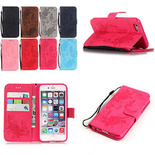 Butterfly Flower Embossed Rope Flip PU Leather Wallet Card Stand Case For iPhone